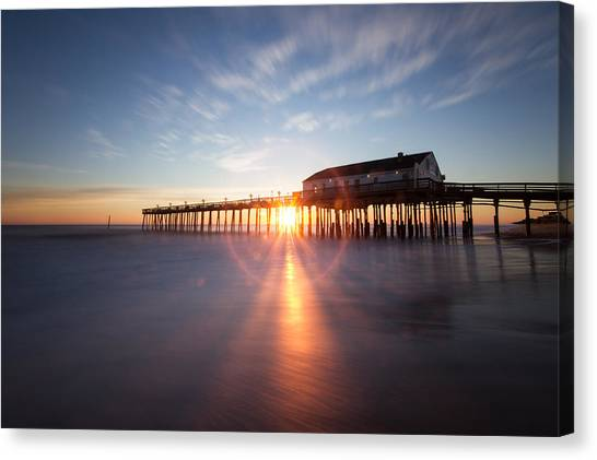 Sunrise At Kitty Hawk Pier Canvas Print