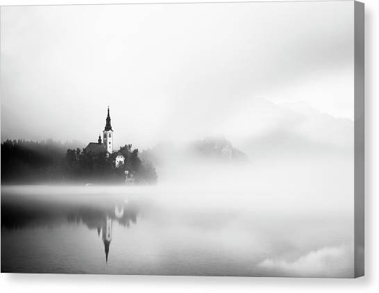 Church Canvas Print - Sunrise At Lake Bled by Lubos Balazovic