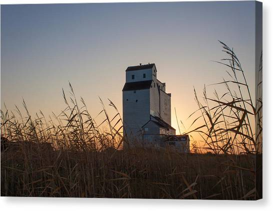 Prairie Sunrises Canvas Print - Grain Elevator At Sunrise by Steve Boyko