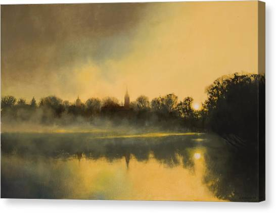 Notre Dame University Canvas Print - Sunrise At Notre Dame Sold by Cap Pannell