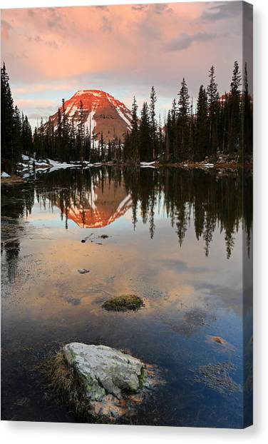 Uinta Canvas Print - Sunrise At Picturesque Lake. by Johnny Adolphson