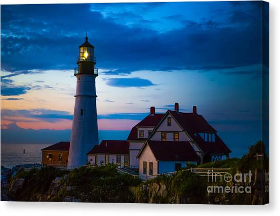 Lighthouses Canvas Print - Sunrise At Portland Head Lighthouse by Diane Diederich