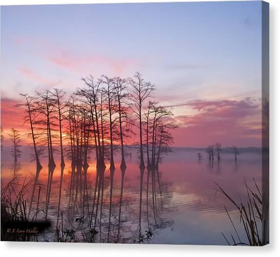 Sunrise At Reelfoot Lake Canvas Print by J Larry Walker