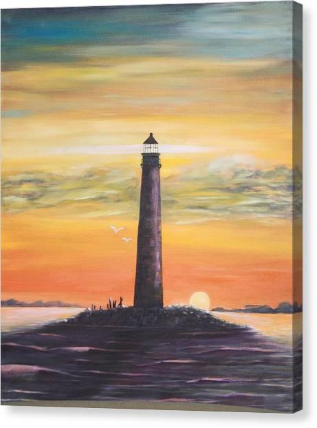 Sunrise At Sand Island Lighthouse Canvas Print