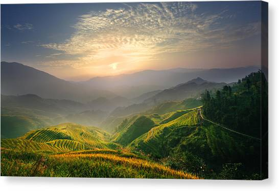 Sunrise At Terrace In Guangxi China 5 Canvas Print