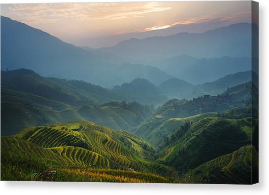 Sunrise At Terrace In Guangxi China 8 Canvas Print
