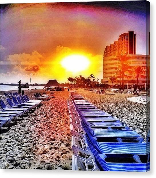Bahamas Canvas Print - Sunrise At The Beach by Ann Jungblut