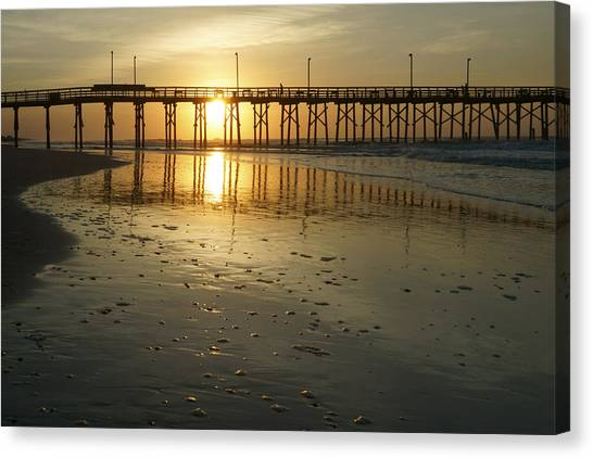 Beach Sunrises Canvas Print - Sunrise At The Jolly Roger Pier by Mike McGlothlen