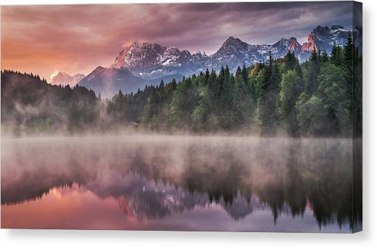 Early Canvas Print - Sunrise At The Lake by Andreas Wonisch