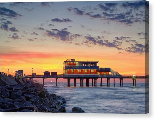 Sunrise At The Pier - Galveston Texas Gulf Coast Canvas Print