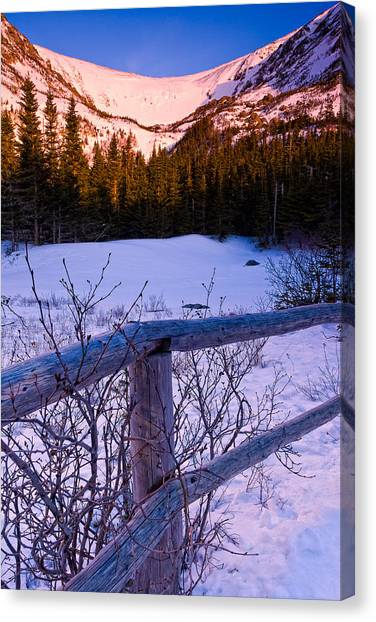 Sunrise At Tuckerman's With Fence 2 Canvas Print