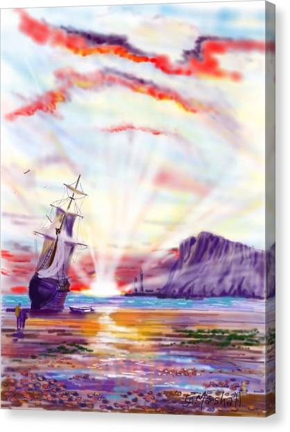 Sunrise At Whitby Canvas Print
