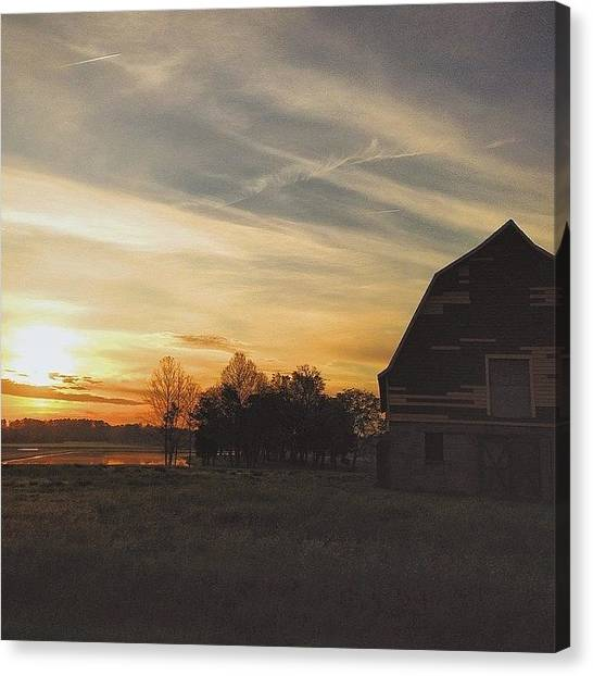 Lake Sunrises Canvas Print - Barn At Sunrise by Matt Hildreth