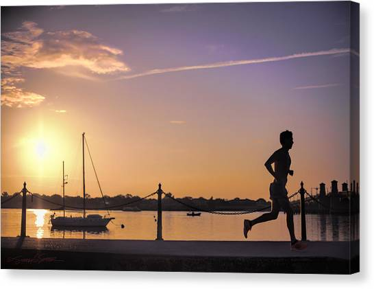Sunrise Bayfront Runner Canvas Print