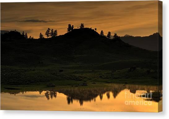 Sunrise Behind A Yellowstone Ridge Canvas Print