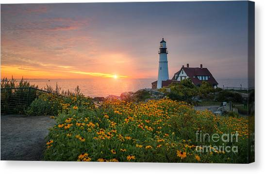 Sunrise Bliss At Portland Lighthouse Canvas Print
