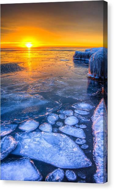 Sunrise Chicago Lake Michigan 1-30-14 02 Canvas Print by Michael  Bennett