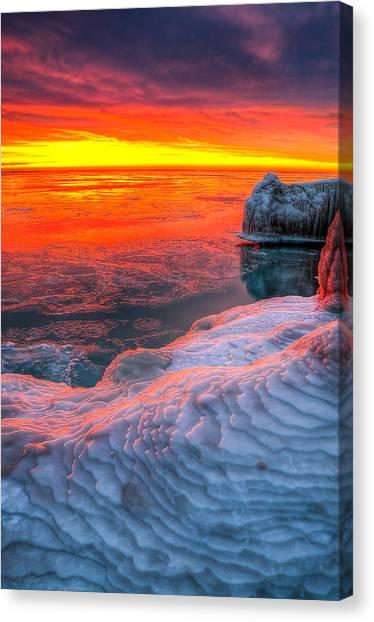 Sunrise Chicago Lake Michigan 1-30-14 Canvas Print by Michael  Bennett