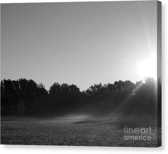 Sunrise In Black And White Canvas Print