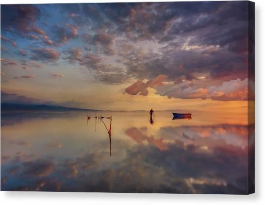 Spain Canvas Print - Sunrise In Delta Del Ebre by Joanaduenas