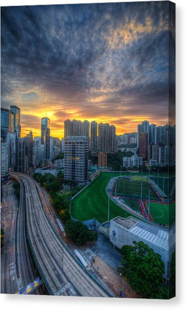 Sunrise In Hong Kong Canvas Print by Mike Lee