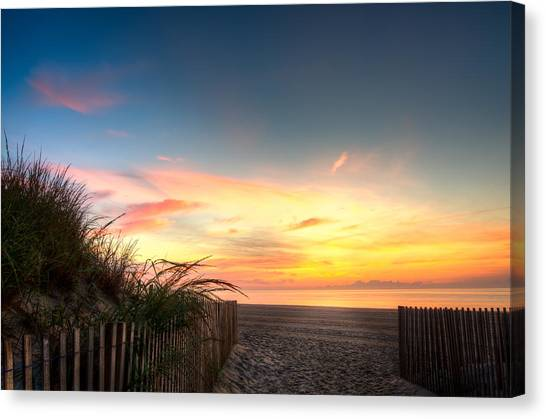 City Sunrises Canvas Print - Sunrise In Ocean City Md On The Beach by Gavin Baker