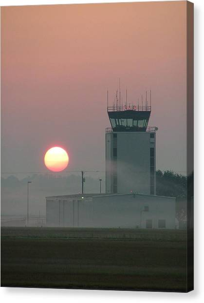 Sunrise In The Fog At East Texas Regional Airport Canvas Print