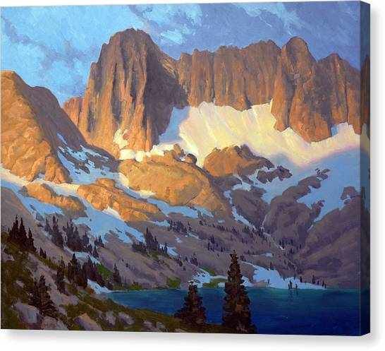 Lake Sunrises Canvas Print - Sunrise In The Sierras by Armand Cabrera