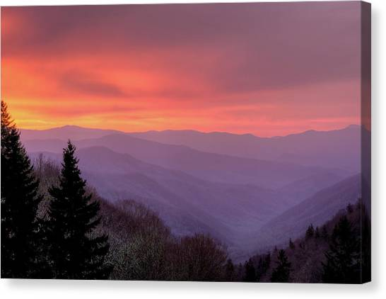 Sunrise In The Smoky Mountains Canvas Print by Dennis Govoni
