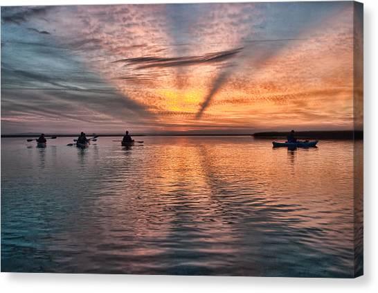 Sunrise Kayaking Canvas Print