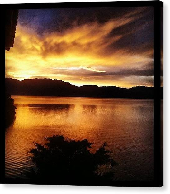 Lake Sunrises Canvas Print - #sunrise #lake #atitlan #guatemala by Bridgette Stewart