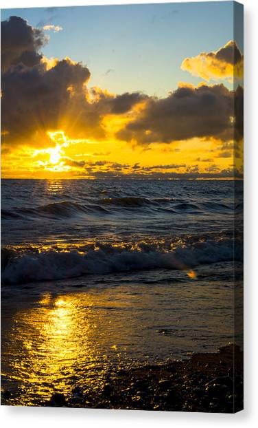 Sunrise Lake Michigan August 30th 2013 001  Canvas Print