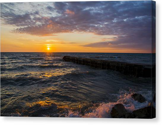 Sunrise Lake Michigan August 8th 2013 005 Canvas Print
