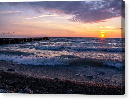 Sunrise Lake Michigan August 8th 2013 Wave Crash Canvas Print