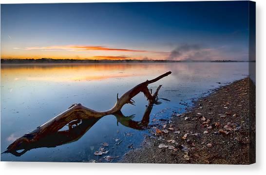 Sunrise Log Lake Canvas Print by Berkehaus Photography