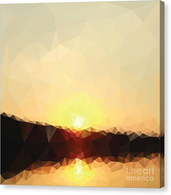 Sunrise Low Poly Effect Abstract Vector Canvas Print by Vinko93