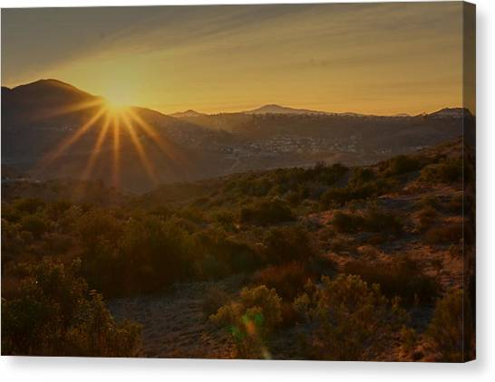 Canvas Print featuring the photograph Sunrise Mission Trails San Diego  by Jeremy McKay