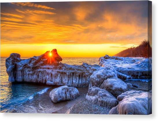 Sunrise North Of Chicago Lake Michigan 1-12-14 Canvas Print by Michael  Bennett