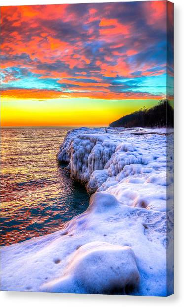 Sunrise North Of Chicago Lake Michigan 1-14-14 Canvas Print by Michael  Bennett