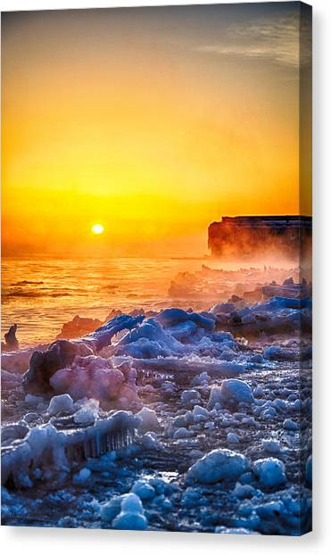 Sunrise North Of Chicago Lake Michigan 1-3-14  Canvas Print by Michael  Bennett