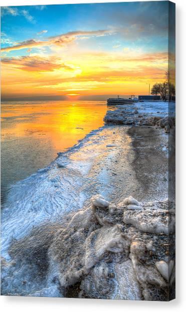 Sunrise North Of Chicago Lake Michigan 1-4-14 001 Canvas Print by Michael  Bennett