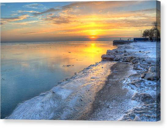 Sunrise North Of Chicago Lake Michigan 1-4-14 003 Canvas Print by Michael  Bennett