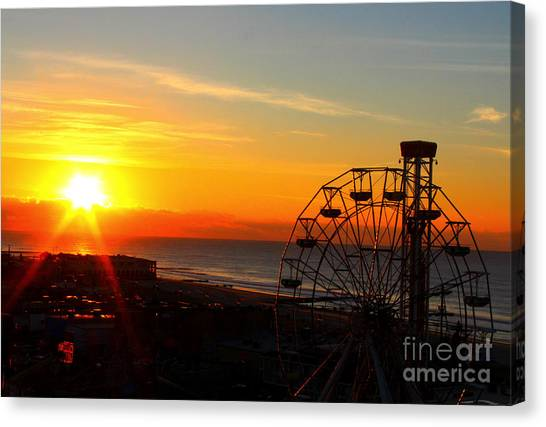 Sunrise Ocean City Boardwalk Canvas Print