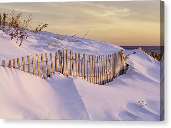 Sunrise On Beach Fence Canvas Print