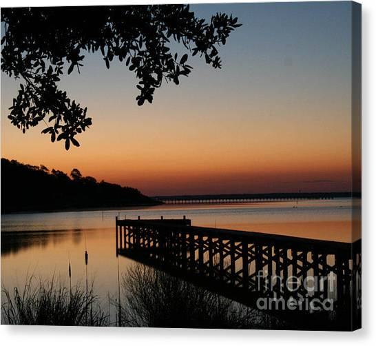 Sunrise On Bogue Sound Canvas Print by Cari Gesch