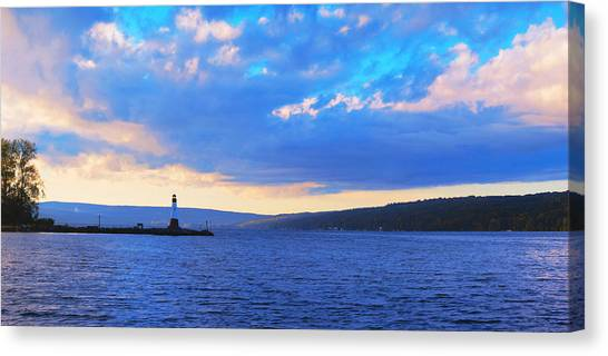 Cornell University Canvas Print - Sunrise On Cayuga Lake Ithaca New York Panoramic Photography by Paul Ge