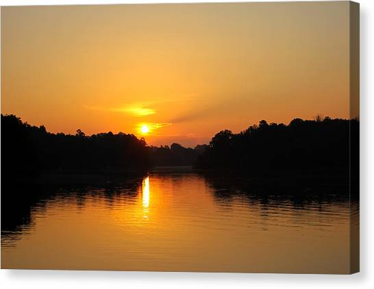 Lake Sunrises Canvas Print - Sunrise On Lake Hartwell by Adam Powell