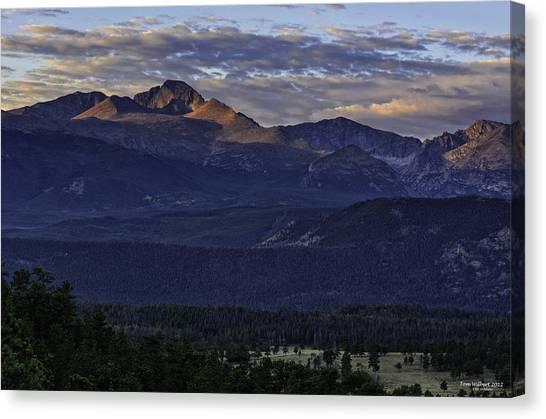 Sunrise On Longs Canvas Print by Tom Wilbert