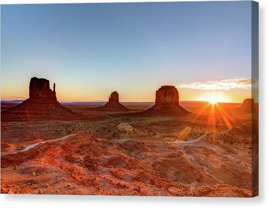 Sunrise On Monument Valley Canvas Print