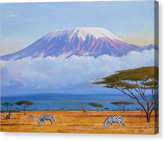 Mount Kilimanjaro Canvas Print - Sunrise On Mount Kilimanjaro by James Zeger
